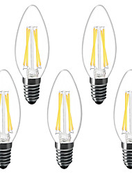 cheap -5pcs 3 W LED Candle Lights LED Filament Bulbs 300 lm E14 C35 4 LED Beads High Power LED Decorative Warm White 220-240 V 220 V 230 V
