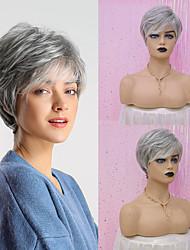 cheap -Human Hair Capless Wigs Human Hair Straight Layered Haircut / Asymmetrical / Short Hairstyles 2019 Fashionable Design / Adjustable / Heat Resistant Dark Gray / Multi-color Short Capless Wig Women's