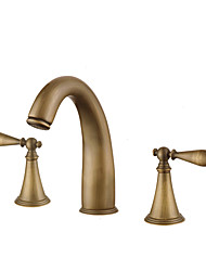 cheap -Bathroom Sink Faucet / Faucet Set - Widespread Antique Copper / Gold / Rose Gold Widespread Two Handles Three HolesBath Taps / Brass