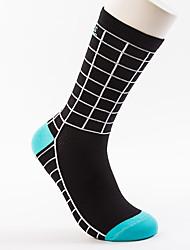 cheap -Men's Cycling Socks Compression Socks Breathable Sweat-wicking Blue Black / White Black / Blue Road Bike Mountain Bike MTB Basketball Stretchy