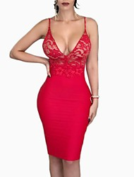 cheap -Women's Bodycon Dress Strap Black White Red S M L XL