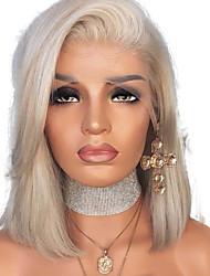 Недорогие -Синтетические кружевные передние парики Прямой Стиль Боковая часть Лента спереди Парик Блондинка Платиновый блондин Искусственные волосы 12 дюймовый Жен. Регулируется Жаропрочная Женский Блондинка