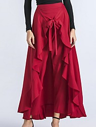 cheap -Women's Chic & Modern Jogger / Skirt / Swing Pants - Solid Colored Ruffle High Waist Black Blue Red S M L / Asymmetrical