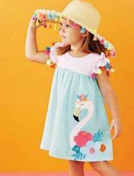 cheap -Kids Toddler Girls' Cute Bird Embroidered Short Sleeve Knee-length Dress Light Blue / Cotton