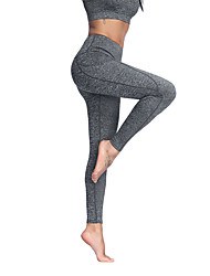 cheap -Women's High Waist Yoga Pants Leggings 4 Way Stretch Breathable Moisture Wicking Sillver Gray Black Lycra Non See-through Gym Workout Sports Activewear High Elasticity Skinny / Full Length