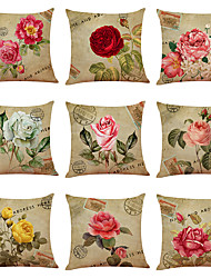 cheap -Set of 9 Flower Bicycle Linen Cushion Cover Home Office Sofa Square Pillow Case Decorative Cushion Covers Pillowcases (18*18inch)