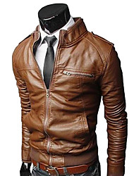 cheap -Men's Solid Colored Basic Spring &  Fall Faux Leather Jacket Regular Daily Long Sleeve PU Coat Tops Black