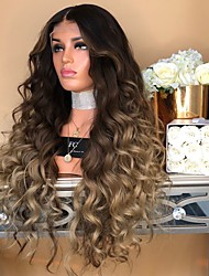 cheap -Synthetic Wig Body Wave Asymmetrical Wig Long Ombre Brown Synthetic Hair 27 inch Women's Best Quality Middle Part Brown