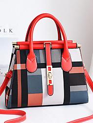 cheap -Women's Polyester / PU Top Handle Bag Color Block Black / Brown / Dark Brown