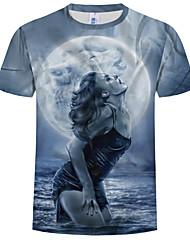 cheap -Men's Plus Size Cotton T-shirt - Portrait Print Round Neck Blue