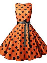 cheap -Women's Vintage Elegant A Line Sheath Swing Dress - Polka Dot Color Block Bow Print Drawstring Orange Yellow L XL XXL