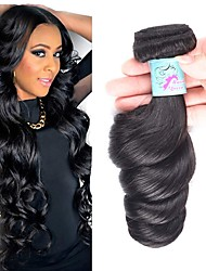 cheap -4 Bundles Indian Hair Loose Wave Remy Human Hair Natural Color Hair Weaves / Hair Bulk Bundle Hair Human Hair Extensions 8-28inch Natural Color Human Hair Weaves Fashionable Design Soft Party Human