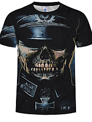 cheap -Men's Plus Size Cotton T-shirt - Skull Print Round Neck Black