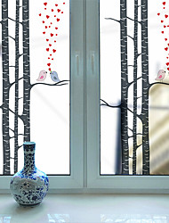 cheap -Love Birds in The Woods Pattern Matte Window Film Cling Vinyl Thermal-Insulation Privacy Protection Home Decor For Window Cabinet Door Sticker / Window Sticker - 116*60CM