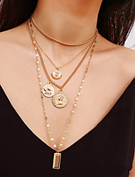 cheap -Women's Pendant Necklace Necklace Elegant Romantic Fashion Chrome Gold Silver 30 cm Necklace Jewelry 1pc For Gift Daily Holiday Engagement Festival / Layered Necklace / Long Necklace