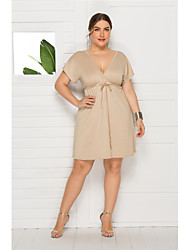 cheap -Women's Plus Size Dress Shift Dress Knee Length Dress Short Sleeve Solid Color Lace up Casual Summer