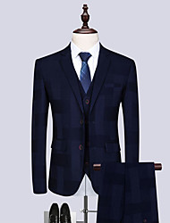 cheap -Tuxedos Tailored Fit / Standard Fit Notch Single Breasted Two-buttons Cotton Blend / Cotton / Polyester Plaid Checkered / Plaid / Check