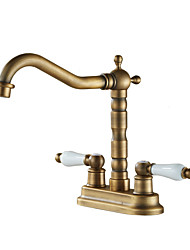cheap -Bathroom Sink Faucet / Faucet Set - Widespread Antique Copper / Gold / Rose Gold Other Two Handles Two HolesBath Taps