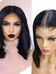 cheap -Human Hair Wig Short Straight Short Bob Party Women Best Quality 13x6 Closure Brazilian Hair Women's Black#1B 6 inch 8 inch 10 inch