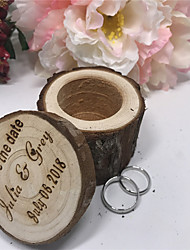 cheap -Personalized Ring Boxes Wood Necklace Cylinder Engraved