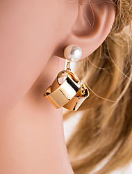 cheap -Women's Silver Gold Drop Earrings Geometrical European Imitation Pearl Earrings Jewelry Gold / Silver For Daily 1 Pair