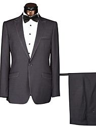 cheap -Black / Colored Gray Solid Colored Standard Fit Cotton / Polyster Suit - Peak Single Breasted One-button / Suits