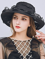 Недорогие -Жен. Kentucky Derby Классический Шляпа от солнца Кружева,Однотонный Бежевый Серый Хаки