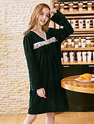 cheap -Women's Home Velvet Loungewear Patchwork Lace One-Size Green