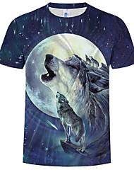 cheap -Men's Plus Size Cotton T-shirt - Animal Print Round Neck Royal Blue