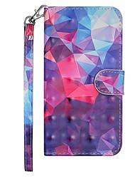 Недорогие -Кейс для Назначение Nokia Nokia 7.1 / Nokia 6 2018 / Nokia 5 Кошелек / Бумажник для карт / со стендом Чехол Геометрический рисунок / Градиент цвета Твердый Кожа PU