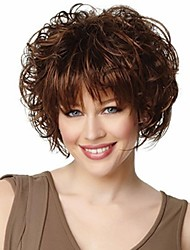 cheap -Bangs Deep Curly With Bangs Wig Medium Length Brown / Burgundy Synthetic Hair 14 inch Women's Fashionable Design Women Synthetic Brown
