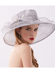 cheap -Tulle / Organza Fascinators / Hats / Bonnet with Crystal / Feather / Bowknot 1 Wedding / Daily Wear / Tea Party Headpiece