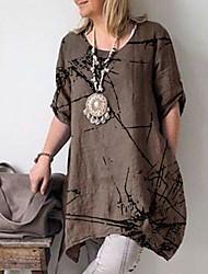 cheap -Women's T-shirt - Graphic Ruffle / Fashion Brown / Spring / Summer / Fall / Winter
