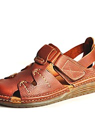 cheap -Men's Comfort Shoes Nappa Leather Fall / Spring & Summer Sporty / Casual Sandals Breathable Brown / Outdoor