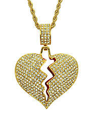 cheap -Men's Crystal Pendant Necklace Broken Heart Heart Relationship European Trendy Fashion Chrome Gold Silver 60 cm Necklace Jewelry 1pc For Daily Carnival Street