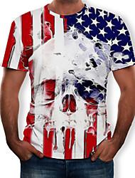 cheap -Men's T shirt Graphic 3D Skull Print Tops White