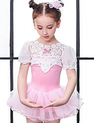 cheap -Kids' Dancewear / Ballet Dresses / Outfits Girls' Training / Performance Cotton Bow(s) / Lace / Split Joint Short Sleeve Natural Dress / Shorts