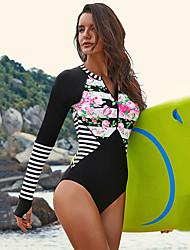 abordables -Femme Maillot de bain Maillots de Bain Manches Longues Zip frontal - Natation Sports aquatiques Mosaïque Eté / Elastique