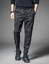 cheap -Men's Sporty Chinos Pants Print Full Length Classic Black