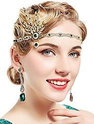 cheap -Charleston Floral Vintage 1920s The Great Gatsby Flapper Headband Women's Feather Costume Black / Emerald Green / Golden Vintage Cosplay Festival