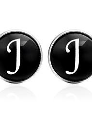cheap -Cufflinks Alphabet Shape Basic Fashion Brooch Jewelry Black Silver Brown For Daily Festival