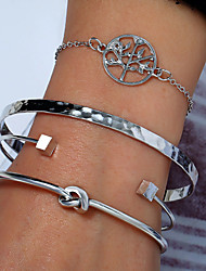 cheap -4pcs Women's Bracelet Bangles Cuff Bracelet Bracelet Layered Love knot Tree of Life life Tree Knot Stylish Simple European Alloy Bracelet Jewelry Silver For Party Gift Daily Date Work