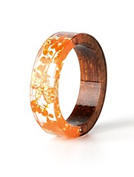 cheap -Men's Women's Ring Resin 1pc Orange Resin Wood Round Natural Boho Gift Jewelry Floral Theme Flower Botanical Cute Lovely