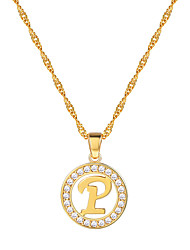 cheap -Women's Clear AAA Cubic Zirconia Pendant Necklace X Letter Simple Fashion 18K Gold Plated Copper Platinum Plated Gold Silver 55 cm Necklace Jewelry 1pc For Gift Daily School