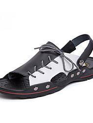 cheap -Men's Comfort Shoes Microfiber Spring & Summer Vintage Sandals Breathable Black / Black / White / White / Blue