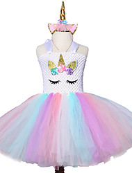 cheap -Mesh Casual Flower Knee length Princess Kids Christmas New Year Bow Tutu Dress Wear