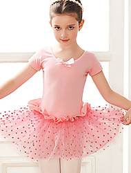 cheap -Kids' Dancewear / Ballet Dresses Girls' Training / Performance Cotton Bow(s) / Lace / Split Joint Short Sleeve Dress
