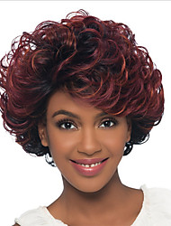 cheap -Synthetic Wig Bangs Curly Free Part Wig Medium Length Brown / Burgundy Synthetic Hair 14 inch Women's Fashionable Design Women Synthetic Brown