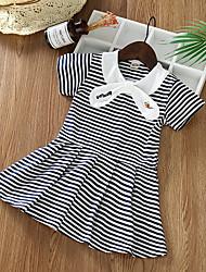 cheap -Baby Girls' Basic Striped Print Short Sleeve Above Knee Dress Blushing Pink / Toddler