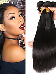 cheap -3 Bundles Brazilian Hair Straight Virgin Human Hair Natural Color Hair Weaves / Hair Bulk Bundle Hair One Pack Solution 8-28 inch Natural Color Human Hair Weaves Odor Free Smooth Best Quality Human